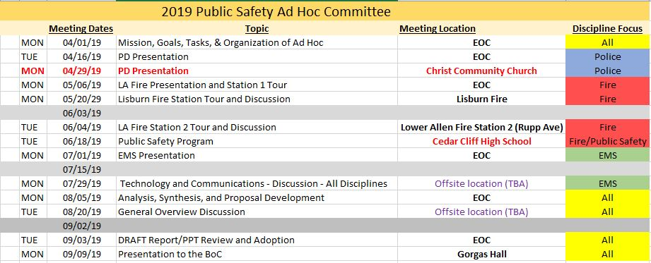 2019 AD HOC Meeting Schedule