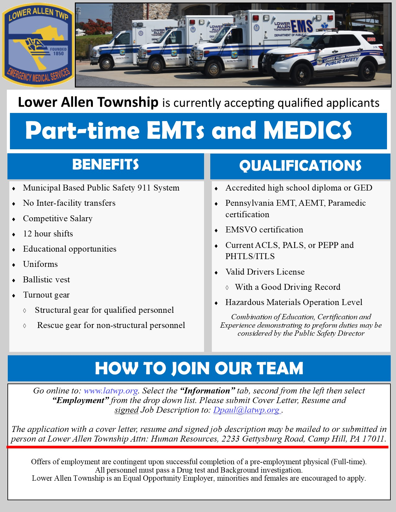 Part-time EMT and Medic Recruitment Flyer June